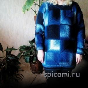 вязаный свитер из секционной пряжи