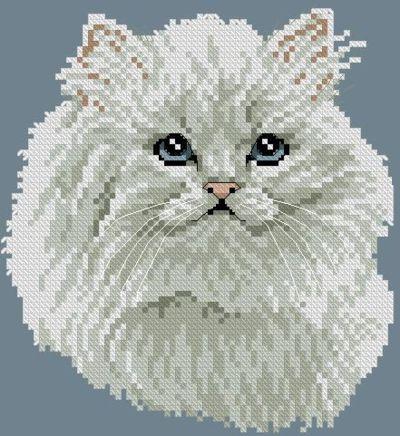 Вышивка Белоснежный кот