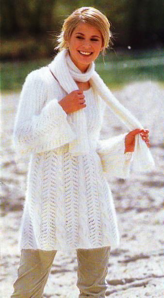 Вязаная туника и шарф