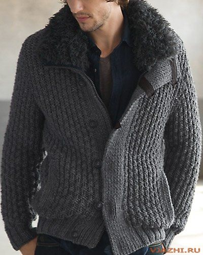 Вязаный спицами мужской кардиган — куртка из Phildar 567.