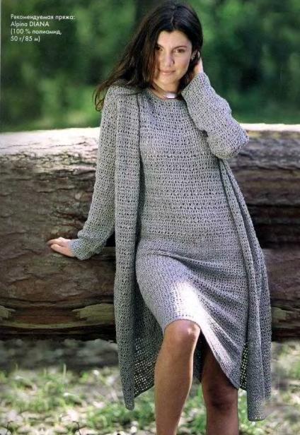 Кардиган и платье («Вязание для полных»)