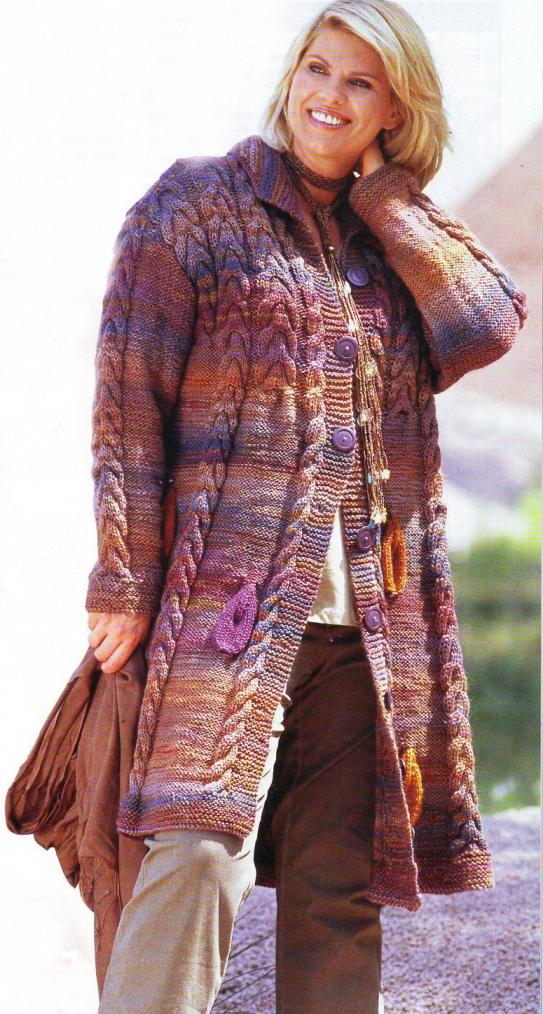 Вязаное меланжевое пальто (Вязание для полных)