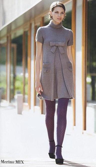 Вязаное платье (в стиле «мини»)