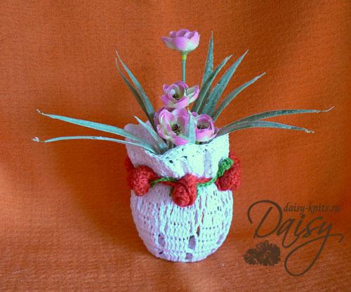 Кружевная ваза с розами (мастер-класс)