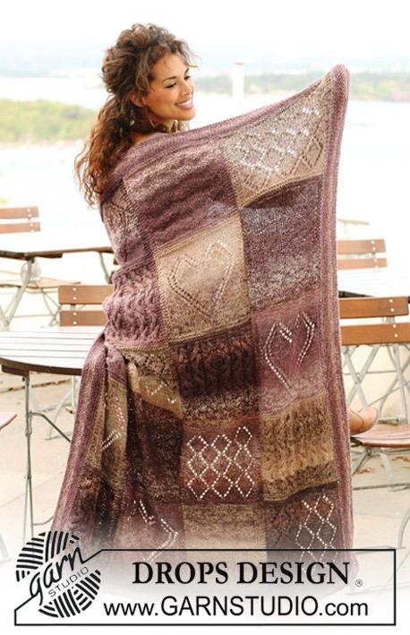 Плед из квадратов разными узорами / 124-20 drops blanket with squares