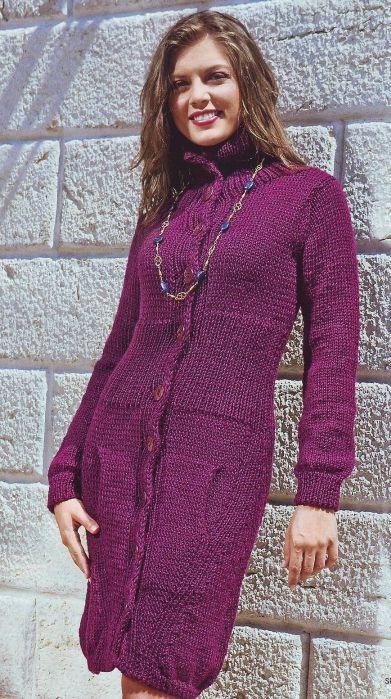 Вязаное пальто с широким поясом