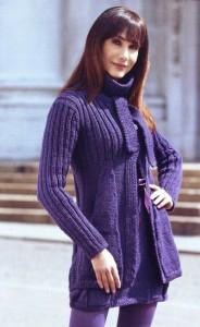 вязаное пальто и платье