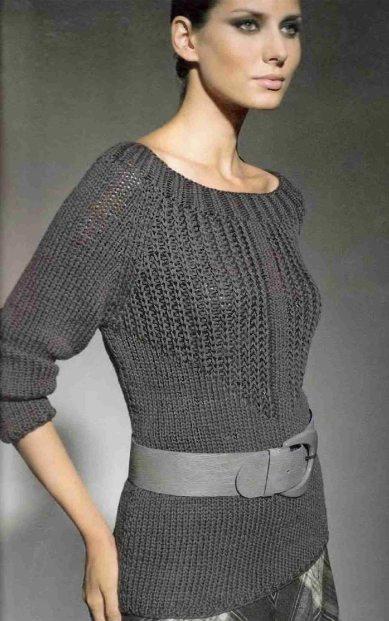Пуловер с узором из патентных петель