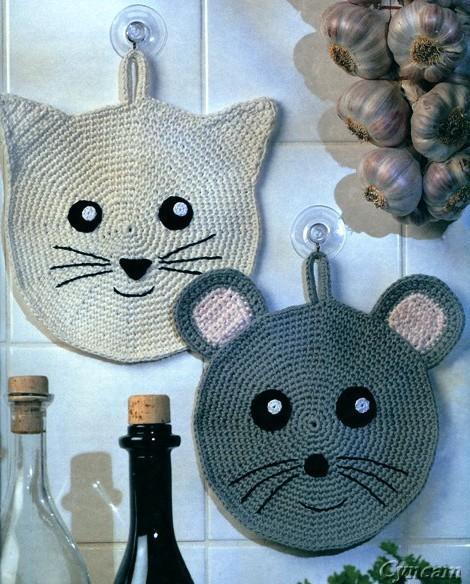 Вязаные прихватки «Кошки-мышки»