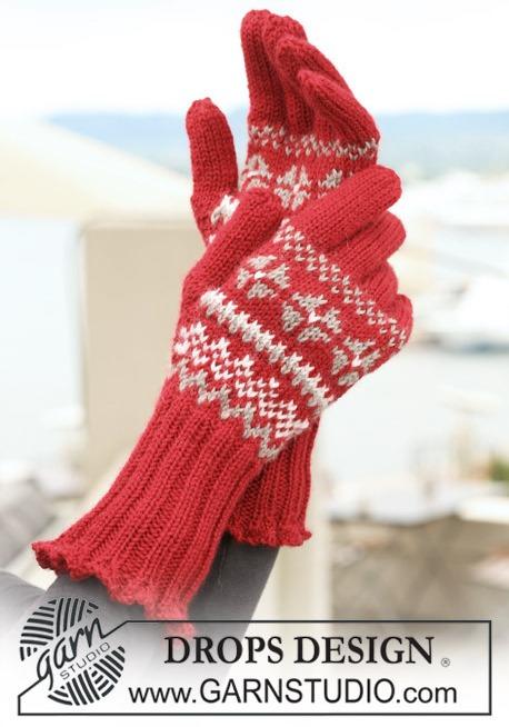 Красные перчатки с узором