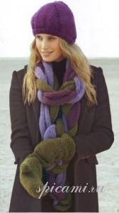 вязаная шапка шарф и варежки