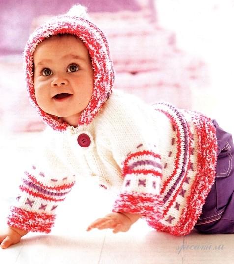 Вязание для малышей (курточка с капюшоном)
