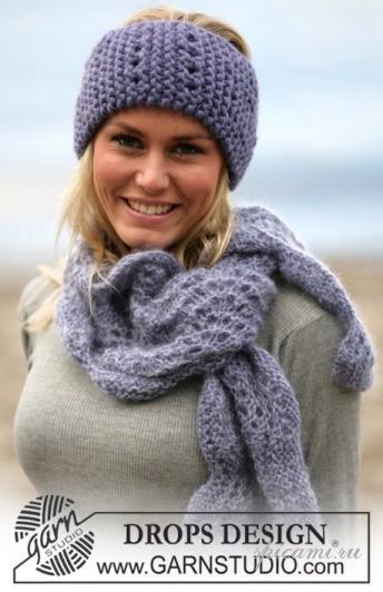 Вязаный шарф и повязка на голову