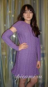 вязаное платье и митенки