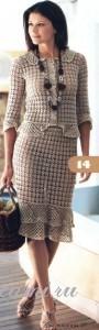 вязаный жакет юбка и сумка