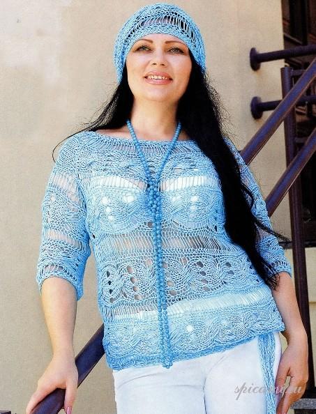 Легкий пуловер и берет (Вязание для полных)