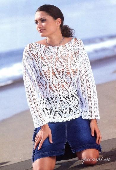 2 белых пуловера крючком