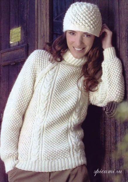 Жемчужный блеск (свитер и шапочка)