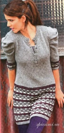 Пуловер-туника с полосами