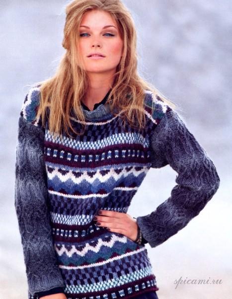Пуловер с ромбами и жаккардовыми узорами