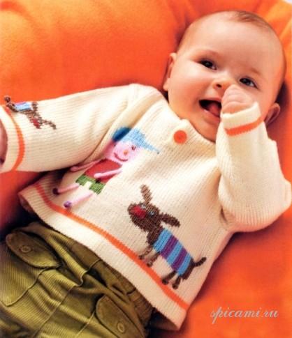 Вязаный пуловер для малыша