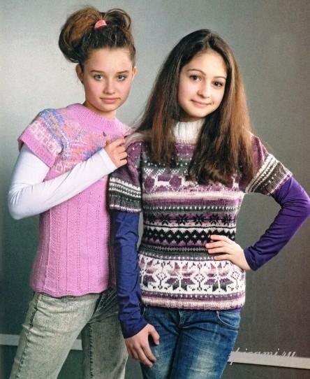 Вязаные пуловеры для девочек