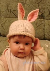 шапочка- зайка для малыша