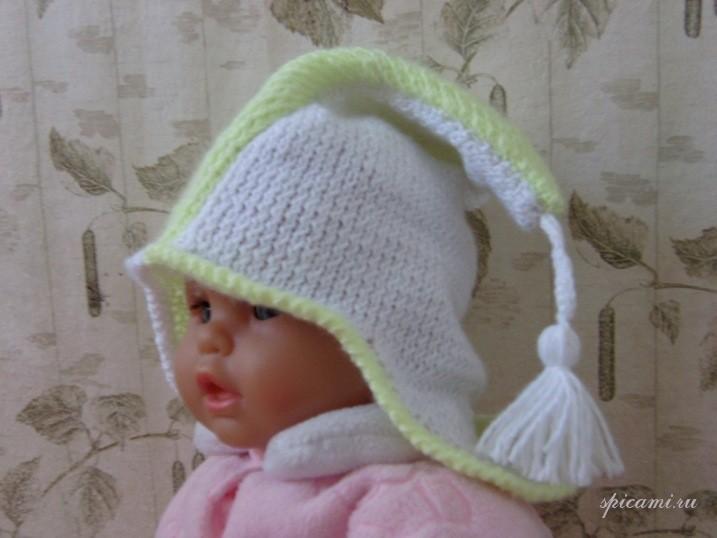 Вязаная шапочка для малышки