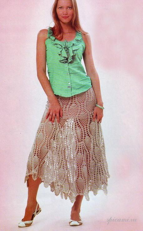 Вязаные юбки с узором «ананас»