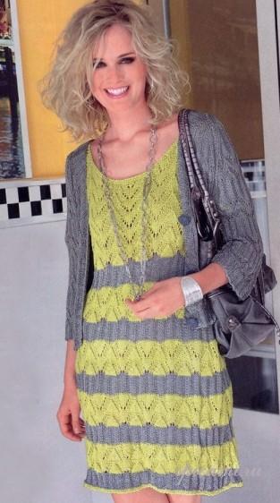 Вязаное платье и жакет на лето