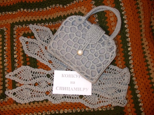 Ажурная сумочка и шарфик крючком