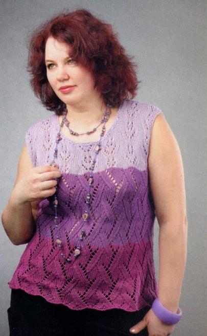 Трехцветный топ (вязание для полных)