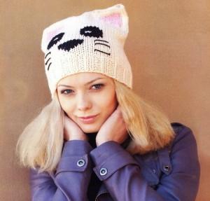 вязаная шапочка кошка