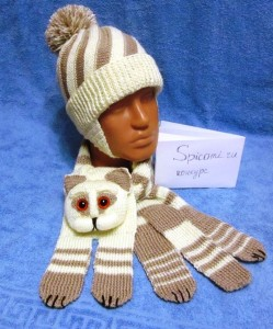комплект шапочка и шарф котик