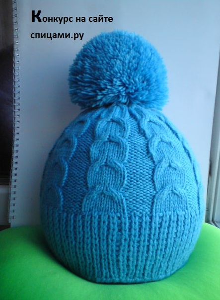 Голубая шапочка с отворотом и без