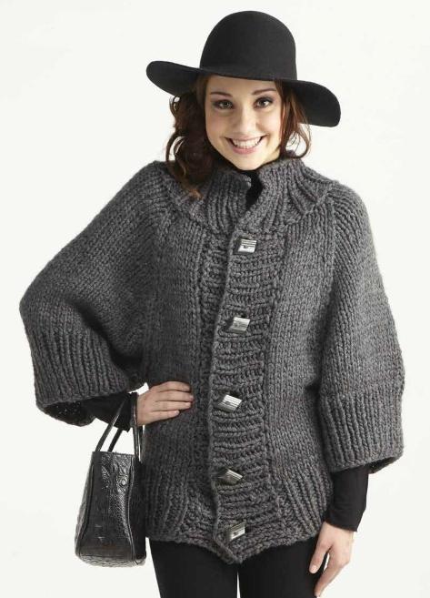 Вязаное короткое  пальто