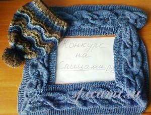 вязаная шапочка и шарф спицами