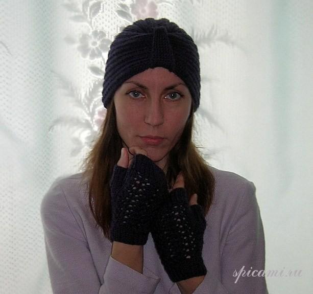 Стильная шапочка «Эдит Пиаф» и перчатки-митенки