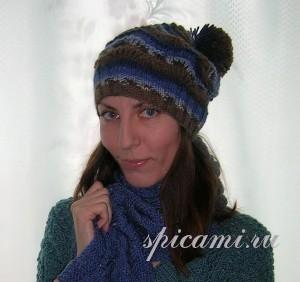 вязаная спортивная шапочка и шарф