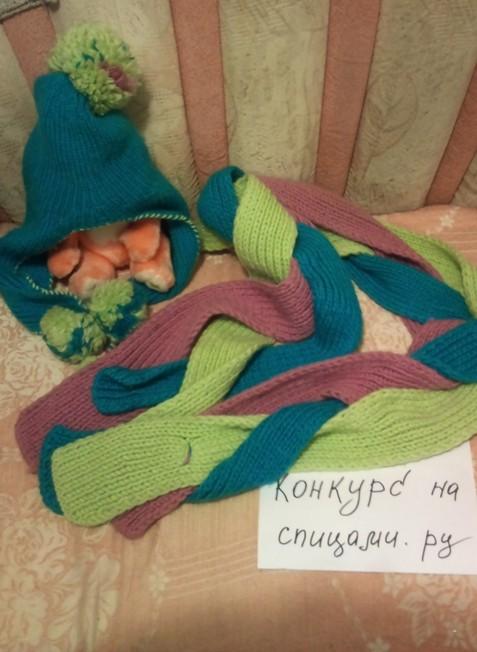 Шапочка с ушками  и шарфик-коса