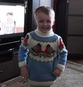 вязаный свитер со снегирями