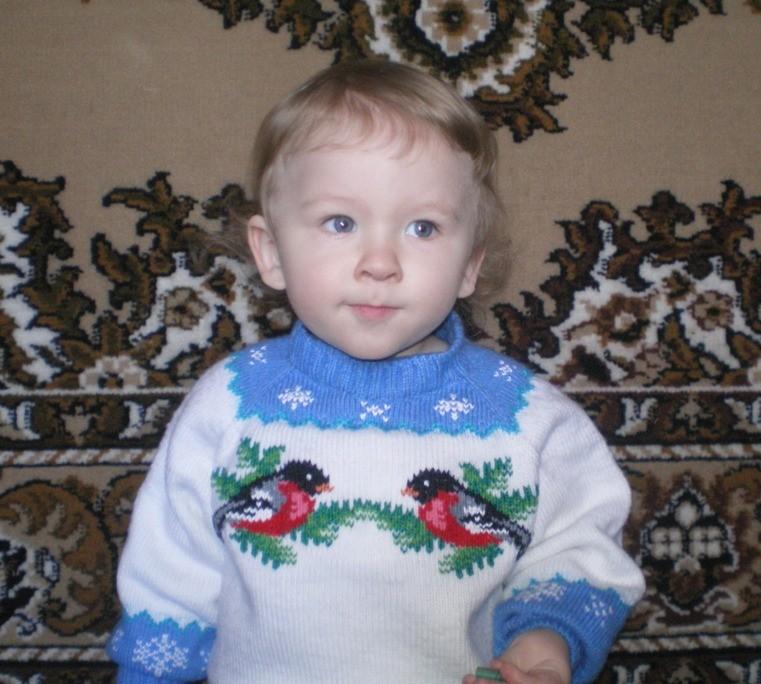 Вязаный свитерок «Снегири прилетели» на мальчика 2-3 лет