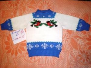 вязаный свитер снегири