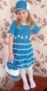 вязаное платья шляпка и сумочка крючком