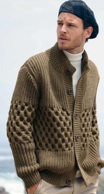 Вязаный жакет (вязание для мужчин)