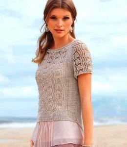 вязаный ажурный пуловер на лето