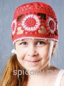 шапочка для девочки крючком на лето