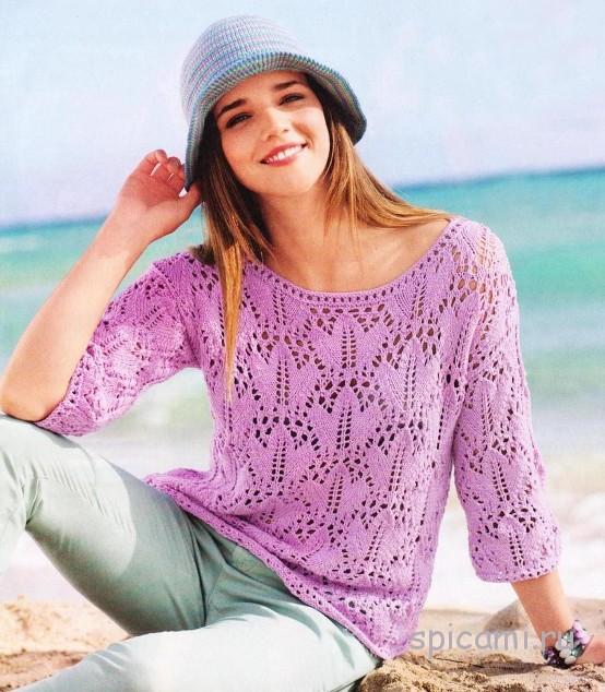Ажурный пуловер спицами и вязаная шляпка крючком