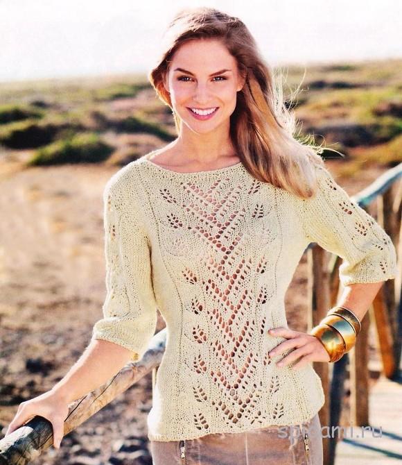 Ажурный пуловер из хлопка и льна