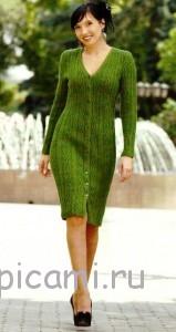 вязаное платье на пуговицах